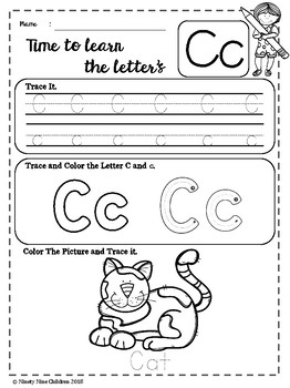 Free Alphabet Worksheets ( Trace and Color )
