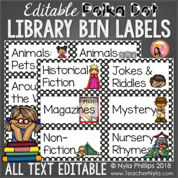Library Labels: Polka dot version