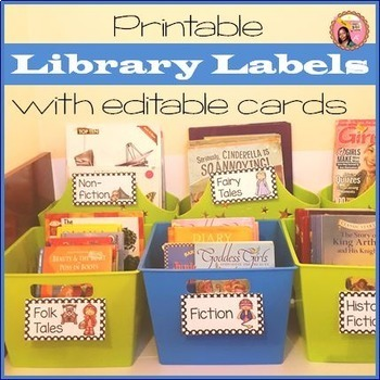 Editable Library Labels Polka dot version