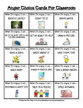 Free Anger Choice Cards for the Classroom - Choices for What to Do When You're Angry - Anger Managem