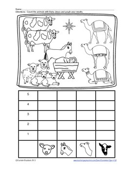 Free Animal Nativity Graphing Printable