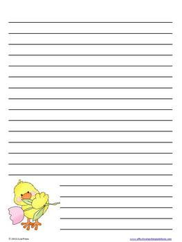 Free April Lined Writing Paper -Spring / Easter