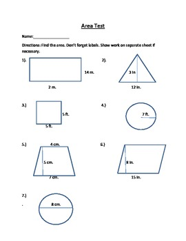 Free- Area Quiz