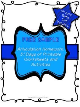 "Samples -""Articulation Homework- 31 Days of Printable Work"