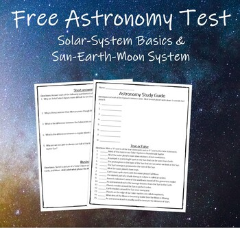 Free Astronomy Test (Middle School)