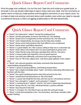 Free At A Glance Report Card Comments
