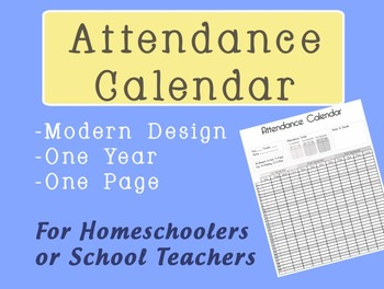 free attendance calendar printable yearly record by cora creates