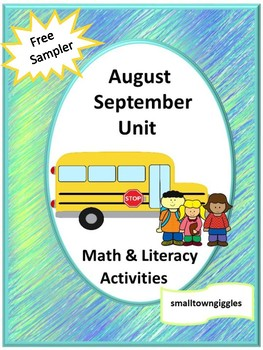 Free August September Math Literacy Back to School Special Ed Kindergarten