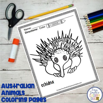 Australian Animals Coloring Pages Freebie