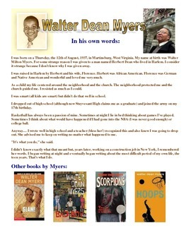 Free Author background sheet on Walter Dean Myers