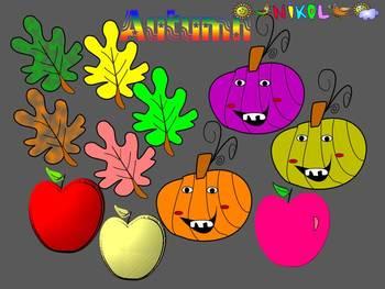 Fall - Pumpkins - Apples - Autumn leaves - Clip Art