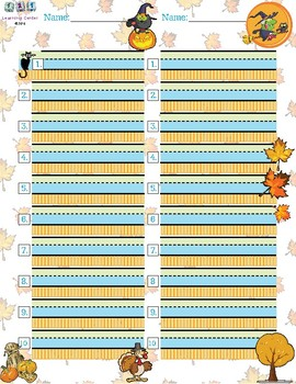 Free: Autumn Handwriting/ Spelling Page