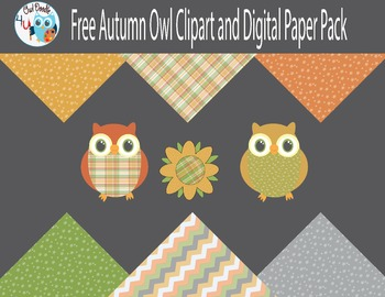 Free Autumn Owl Clipart and Digital Paper Pack