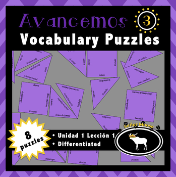 Free Avancemos 3 Spanish Vocabulary Puzzles (U1L1)