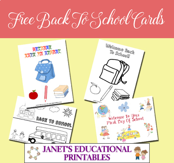 Free Back To School Cards and Coloring Cards