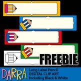 Free Back To School Clip Art - Long Label Pencil clipart