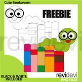 Free Back To School Clipart - Cute bookworm clip art