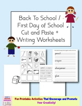 Free Back To School Cut and Paste and Writing Worksheets