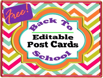 Free Back To School Editable Postcards