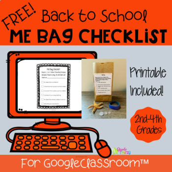 Free Back to School Activity Me Bag Checklist Distance Learning