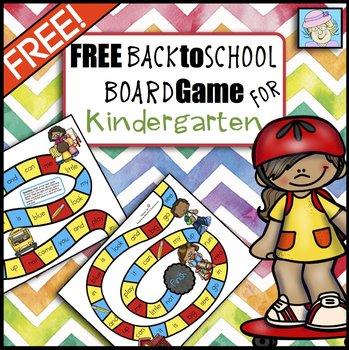 Free Back to School Board Game for Kindergarten