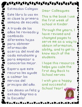 Free Back to School Booklet Spanish & English