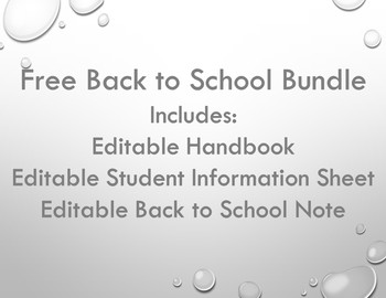 Free Back to School Bundle