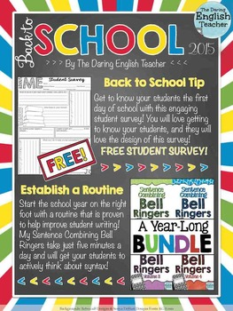 Free Back to School English Language Arts Grades 7-12 Sampler