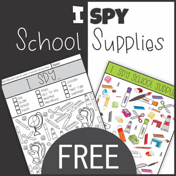 Free Back to School I Spy School Supplies