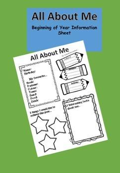 Free Back to School Info Sheet