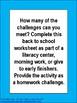 Free Back to School Language Arts Challenge Activity