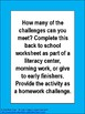 Free Back to School Language Arts Challenge Distance Learning Home or School