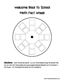 Free Back to School Math Fact Wheel