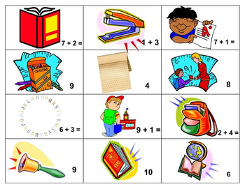 Free Back to School Mixed Addition Facts Matching Game Sampler