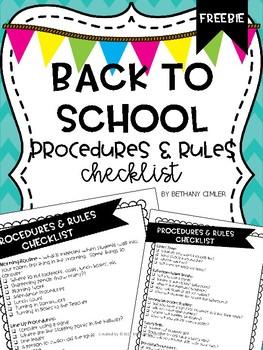Back to School Procedures & Rules Checklist