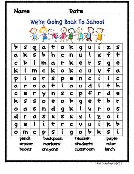 Free Back to School Wordsearch