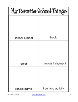 Free Back to School Writing Activity for 1st and 2nd Grade - My Favorite Things