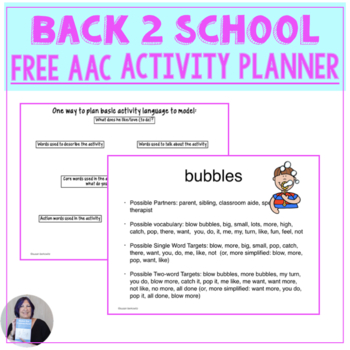 Free Back to School with AAC Vocabulary planner for Speech Therapy or Special Ed