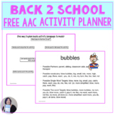 Free Back to School with AAC Core Vocabulary Planner for S