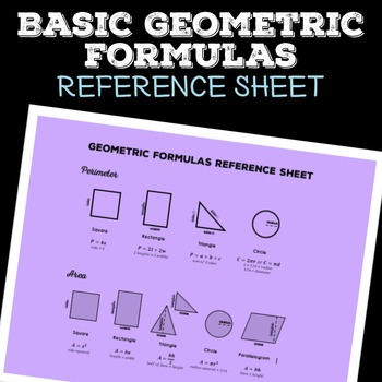Free: Basic Geometric Formula Reference Sheet, Area and Perimeter