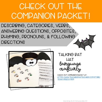 Free Bat Craft for Speech and Language Therapy