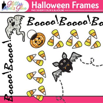 Halloween Clip Art Frames   Bat, Pumpkin, & Ghost Borders for Classroom Resource