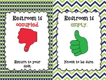 Free Bathroom Flip Sign {Blue/Lime Green}