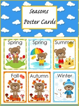 Free Bear seasons posters flashcards