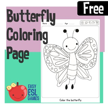 Free Beautiful Butterfly Coloring Page - Easy ESL Games