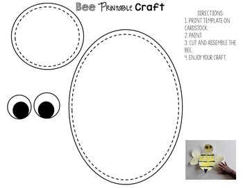 photo about Free Printable Bee Template called No cost Bee Craft Printable