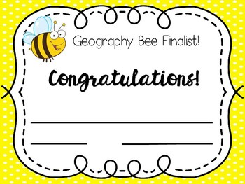 Editable  E  Afree Bee Spelling And Geography Bee Certificates Editable