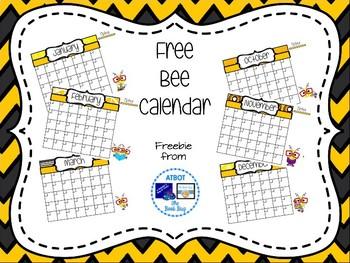 Free Bee Themed Calendar