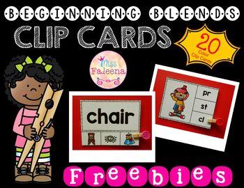 Free Beginning Blends Clip Cards