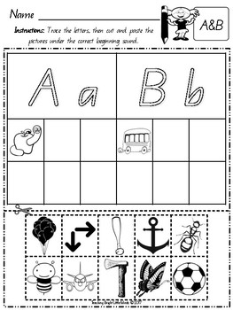 Free Beginning Sounds- Picture Sort